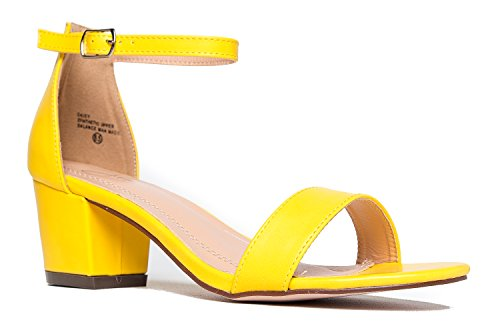 (Ankle Strap Kitten Block Heel, Yellow PU, 6.5 B(M))