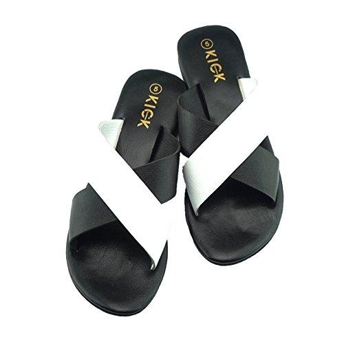 pour en Cuir Tongs Sandales Noir Les Confort de sur Glisser blanc Femmes d'été wzqnRSEC