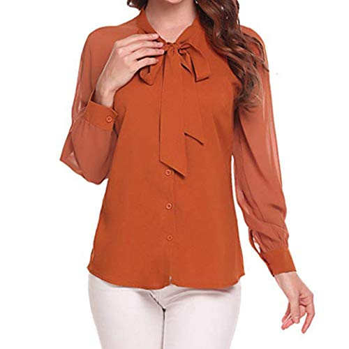 - 2018 Autumn New Baigoods Women's Casual Blouses Bow Tie Neck Ladies Chiffon Patchwork Office Shirt Tops