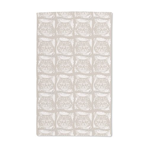 Extra Soft Microfiber Hand Towel - Kitty Minka Brown by Dorothee Schaller - 15.5