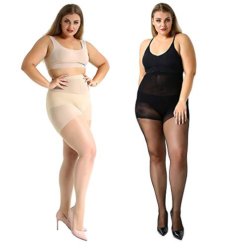 High Waist Tights, Manzi Plus Size Stockings for Women Girls Super Opaque Thigh-High Stockings Pantyhose 2 Pairs 20 Denier