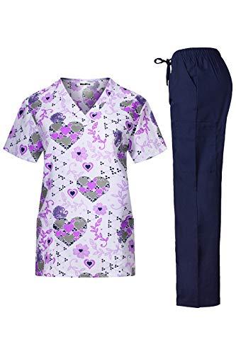 MedPro Women's Printed Medical Scrub Set V-Neck Top and Pants White Purple S (Mock Paisley Wrap)