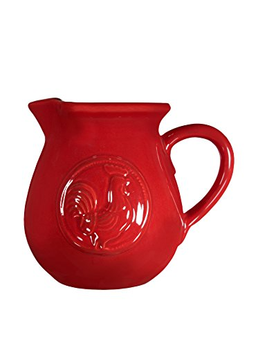 Home Essentials Ceramic Medallion Rooster Fire Red Small Pitcher