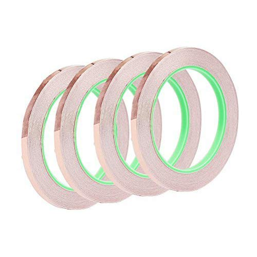 Copper Foil Tape Pack of 4, Copper Foil Adhesive Tape for Snail Repellent, EMI Shielding, Electrical Repair, Stained Glass, Paper Circuit, Soldering,1/4 inch vorey 4336904800