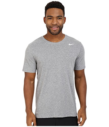 NIKE Men's Dri-FIT Cotton 2.0 Tee, Carbon Heather/Carbon Heather/White, (Side Logo Tee)