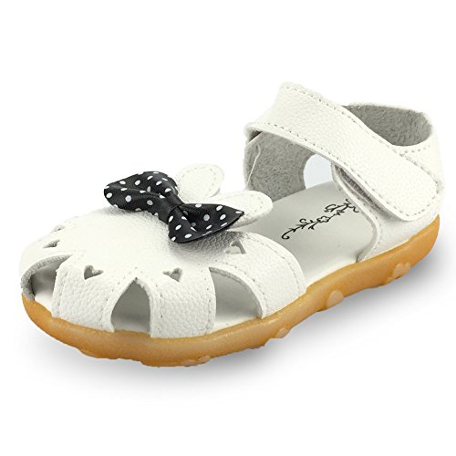 Girl's Sandal Closed-Toe Leather Floral Casual Princess Flat Shoes(Toddler/Little Kid),GSF-02white-23 ()