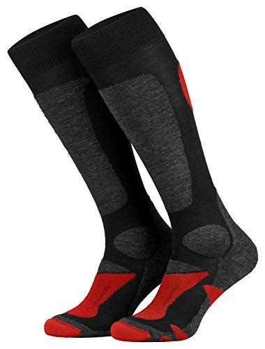Piarini 2 Paar Unisex Skisocken Skistrumpf Herren, Damen und Kinder für Wintersport, Snowboard atmungsaktive Knie-Strümpfe Farbe Schwarz-Rot Gr.43-46