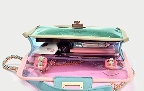 Cross Transparent Purse Clutch Women's MILATA Bright PVC Color Beach Bag Pink Jelly Bag Summer Body Ivaqqt