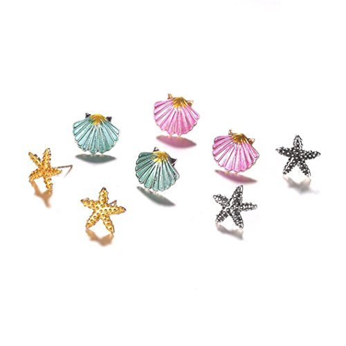 4 Pairs Blue Crystal Starfish,WaiiMak Seashell Stud Earrings For Girls And Womens (Multicolor)