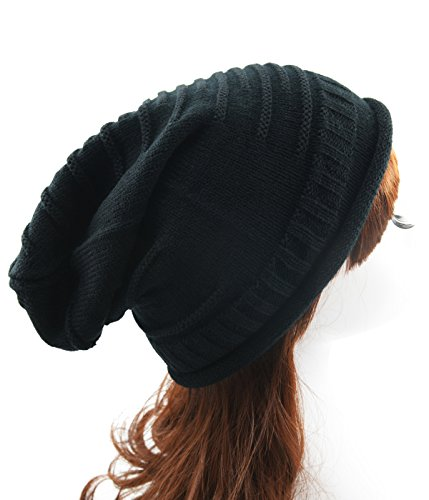 Century Star Women's Supersoft Warm Knit Wrinkle Cap Slouchy Baggy Hat Black