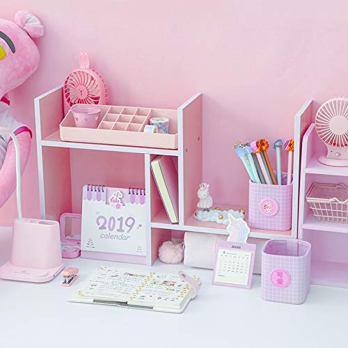 LISAY Desk Organizer,Magazine Holder,Desk Organizers and Accessories,Desk Decor,Pink Wood Filing Products File Tray,Magazine DIY Organizer Desk Accessories Organizer Desk Set (Color : Pink)