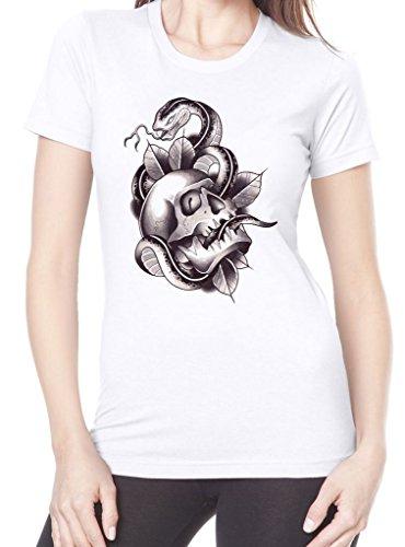 (Tribal T-Shirts Skull & Snake Tattoo Women's T-Shirt (XL, White))