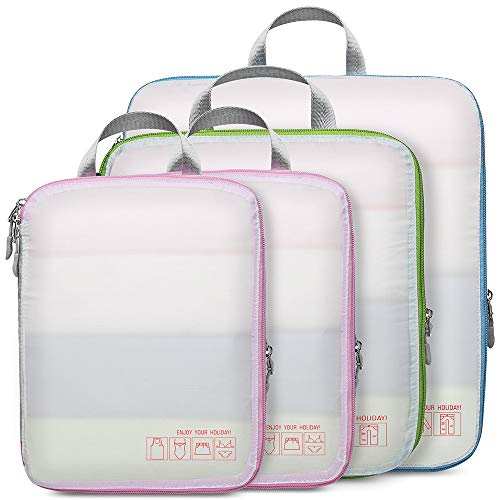 Compression Packing Cubes for Travel, Cambond 4 Pack Luggage Organizers Compression Cubes (White)