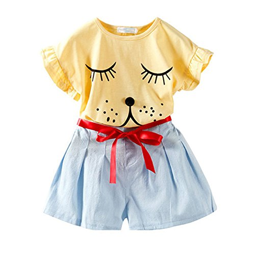 (Fashion Little Girls' Clothing Set Adorable Puppy Printed Casual T-shirt and Pants Yellow Size 4T)
