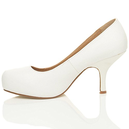 8 Court Office Size Pump MID Pu CORE Ladies Leather Casual Shoes Work White Womens COLLECTION New Smart 3 Heel qwzBPZg