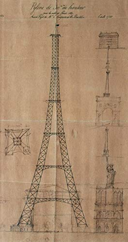 (Home Comforts Laminated Poster France Paris Tower Blueprints Eiffel Tower Vivid Imagery Poster Print 11 x 17)