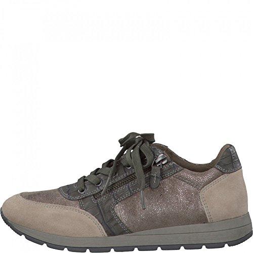 JANA Damen Sneaker 8-23602-26-349 taupe beige kombi, Gr. 37 - 41, Weite H, A. ca. 3 cm Beige