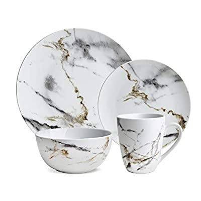 Hoomeet White Marble Design 16-Piece Dinnerware Set, Service for 4. - √ INCLUDES 4 EACH: This 16-piece dinnerware set includes 4 dinner plates, 4 dessert plates, 4 bowls and 4 mugs. Great for everyday use and easy to maintain. √ NATURAL MARBLE STYLE: Each piece has its own natural marbling design that brings a raw, earthy texture to any occasion and a contemporary look to any table setting √ MADE OF HIGH QUALITY PORCELAIN: Porcelain offers a lightweight for easy handling. The whole dinnerware set is non-toxic, complying with California Proposition 65. - kitchen-tabletop, kitchen-dining-room, dinnerware-sets - 41bWCxX1vkL. SS400  -