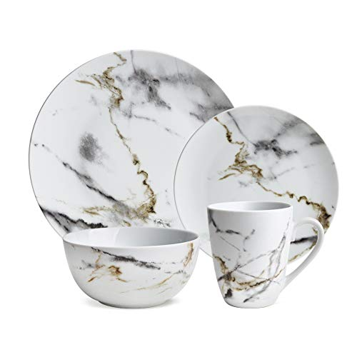 Hoomeet White Marble Design 16-Piece Dinnerware Set, Service for 4. (And Dish White Gold Set)