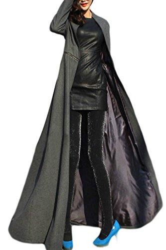 Invierno Coat Grey Elegante Espesar Removble Maxi Mujer Outerwear La Trench wCFqa7S