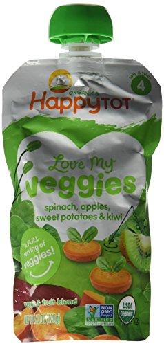 Happy Family Tot Love My Veggies Purees - Spianch Apple Sweet Potato and Kiwi - 4.22 oz - 8 Pack