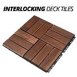 Mammoth Easy Lock Solid Acacia Interlocking Wood Floor Tiles, Outdoor Patio or Indoor Flooring, Pack of 11 Checker (12 Slat) Pattern Decks