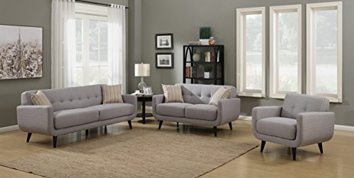 AC Pacific Crystal Collection Upholstered Gray Mid-Century 3-Piece Living Room Set with Tufted Sofa, Loveseat, and Arm Chair and 4 Accent Pillows, Gray