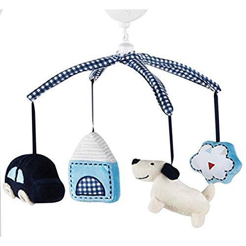 - Kids Line Road Map Plush Brahams Lullaby Musical Crib Mobile Blue