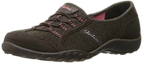 Skechers Breathe-easyallure - Zapatillas Mujer Chocolate/Taupe Mesh/Brown/Coral Trim