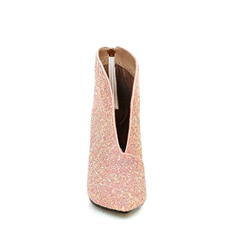 Boots Pointed Gold Women Heel Sexy High Silver Party Bridal Ankle Boot Stilettos Boot Shoes Pink Toe 00wvqfn