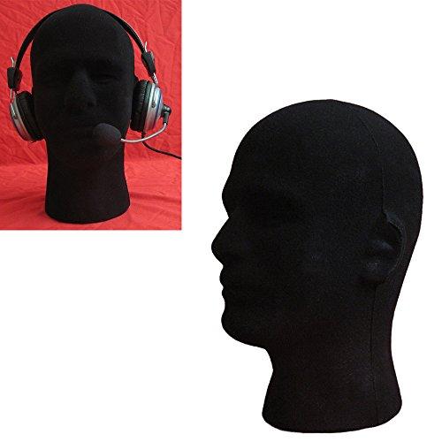 JonerytimeMale Styrofoam Foam Flocking Head Model Wig Glasses Display Stand Black ()