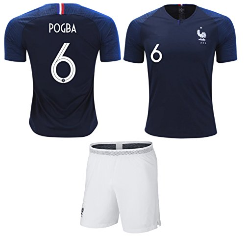 Pogba  6 France Soccer Jersey Youth World Cup Home Short Sleeve with Shorts  Kit Kids a1ea1deeeb253