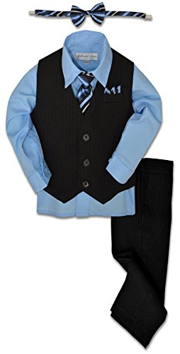Johnnie Lene JL40 Pinstripe Boys Formal Dresswear Vest Set (16, Black/Sky Blue) - Front Tie Wool Jacket