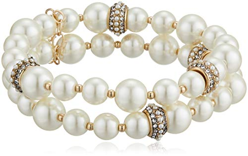 Anne Klein Women's Gold-Tone Blanc Pearl 2 Row Stretch Bracelet, Gold/White, 0