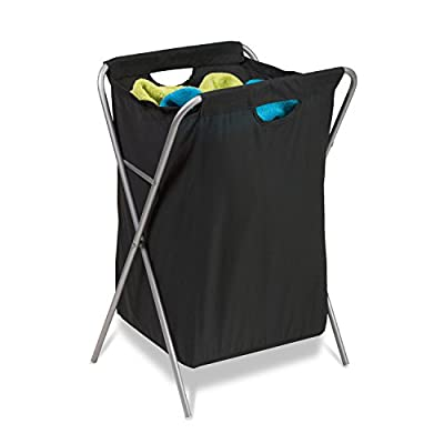 Honey-Can-Do HMP-01635 X-Frame Fold-up Hamper, Foldup, Multicolor - Durable frame, withstands heavy use Contemporary Design, Lightweight and Easy to Move Removable bag, washable and easy to tote laundry - laundry-room, hampers-baskets, entryway-laundry-room - 41bWF4agTwL. SS400  -