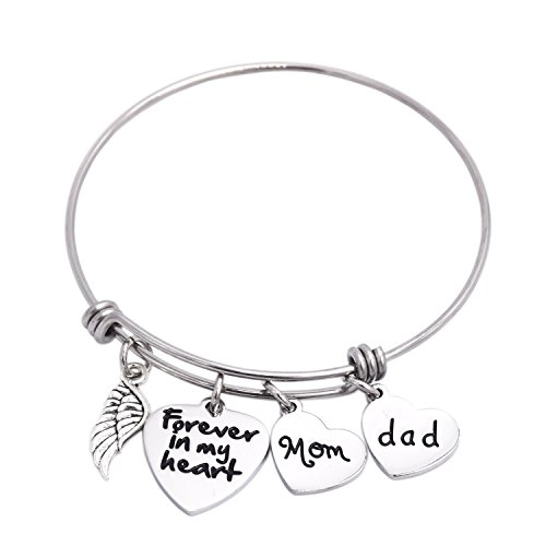 (in Memory of Dad Mom Memorial Jewelry Dad Mom Parent Loss Bracelet Stainless Steel (White))