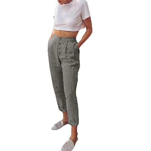 Spbamboo Women High Waist Long Pants Solid Color Button Pencil Pocket Trousers by Spbamboo