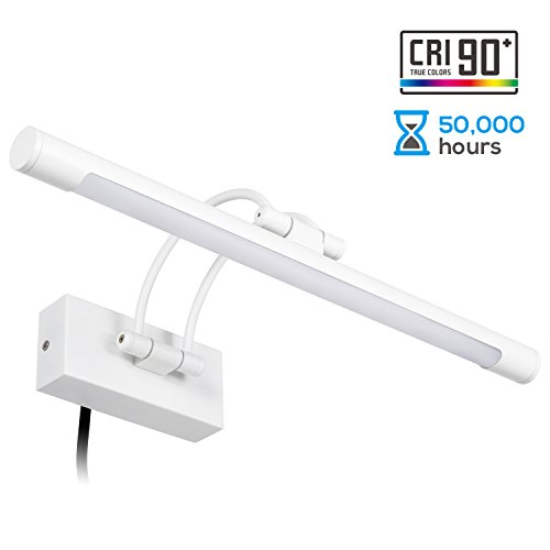 LEONLITE LED Picture Light, Full Metal Artwork Lamp with Swivel Lamp Head, Versatile Plug-n-Play & Hardwire, 3000K Warm White, Arc Arm, 8W (50W Equivalent), 640Lm, UV-Free, White