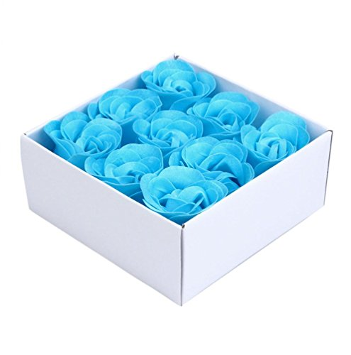 12 Scented Bath Soap Rose Flower, Plant Essential Oil Soap (Blue) - 2