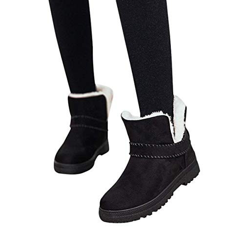 Warm Boots Snow Slip Black Anti Slip Flat On Fur Outdoor Short Suede Lined Women's Boots Winter Mostrin BqZIZ
