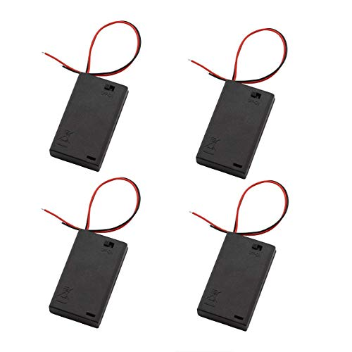 ZRM&E 4-Pack AAA 3 x 1.5V Battery Case Holder,3 Slots x 1.5V AAA Battery Spring Clip Storage Box Wire Leads - with ON/OFF Switch