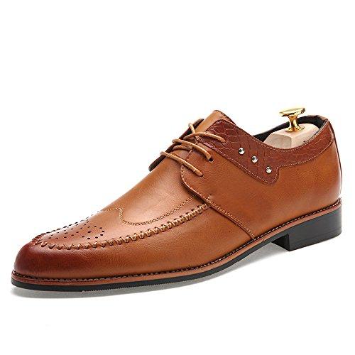 WZG Zapatos de los hombres de negocios de alta calidad de cuero genuino zapatos de los hombres Bullock zapatos tallados de los hombres Brown