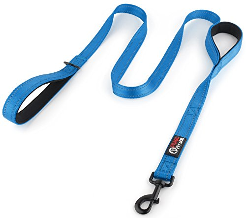 Primal Pet Gear Dog Leash 6ft long - Traffic Padded Two Handle - Heavy Duty - Double Handles Lead for Control Safety Training - Leashes for Large Dogs or Medium Dogs - Dual Handles Leads (6FT, Blue)