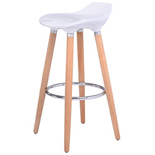 Costway White Bar Stool ABS Plastic, Kitchen Breakfast Barstool with Wooden Legs (Breakfast Stools Wooden Bar)