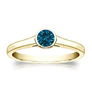 14k Yellow Gold Bezel-set Round-cut Blue Diamond Solitaire Ring (1/3 cttw, Blue, I1-I2) Size 7