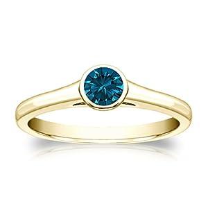 14k Yellow Gold Bezel-set Round-cut Blue Diamond Solitaire Ring (1/3 cttw, Blue, I1-I2) Size 7