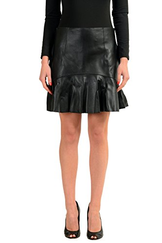 DSQUARED2 100% Leather Black Women's A-Line Skirt US M IT 42