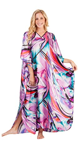 Winlar Long Caftans - Satin Charmeuse One Size Kaftan - Orchid Flash (One Size Fits Most, Orchid/Teal/Black/Red) -