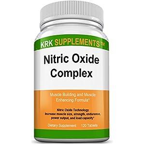 1 Bottle Nitric Oxide Complex 3500mg Per Serving L Arginine HCL AAKG AKG Alpha Ketoglutarate Citrulline Malate 120 Tablets KRK Supplements