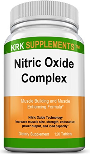 1 Bottle Nitric Oxide Complex 3500mg Per Serving L-Arginine HCL AAKG AKG Alpha Ketoglutarate Citrulline Malate 120 Tablets KRK Supplements